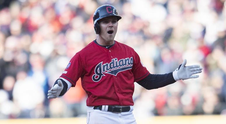 Cleveland Indians left fielder Jake Bauers (10) reacts after hitting a double during the eighth inning against the Chicago White Sox at Progressive Field.