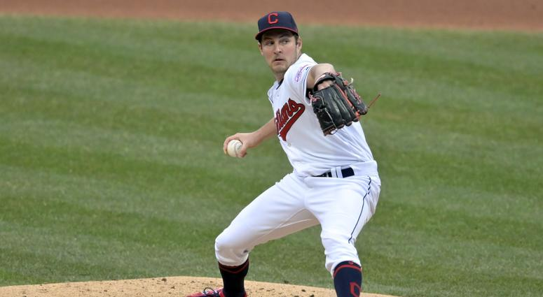 Apr 4, 2019; Cleveland, OH, USA; Cleveland Indians starting pitcher Trevor Bauer (47) delivers in the third inning against the Toronto Blue Jays at Progressive Field. Mandatory Credit: David Richard-USA TODAY Sports