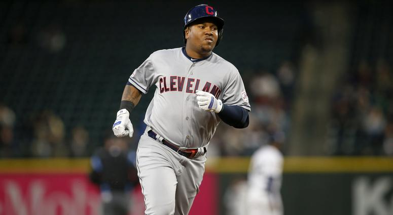 Apr 15, 2019; Seattle, WA, USA; Cleveland Indians third baseman Jose Ramirez runs the bases after hitting a solo home run against the Seattle Mariners during the third inning at T-Mobile Park. Mandatory Credit: Joe Nicholson-USA TODAY Sports