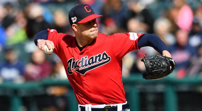 Apr 20, 2019; Cleveland, OH, USA; Cleveland Indians starting pitcher Corey Kluber (28) throws a pitch during the first inning against the Atlanta Braves at Progressive Field. Mandatory Credit: Ken Blaze-USA TODAY Sports