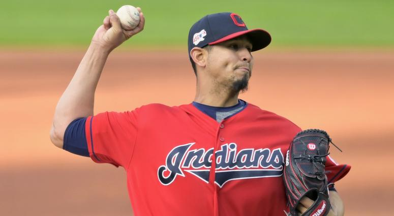 Apr 23, 2019; Cleveland, OH, USA; Cleveland Indians starting pitcher Carlos Carrasco (59) throws against the Miami Marlins in the third inning at Progressive Field.