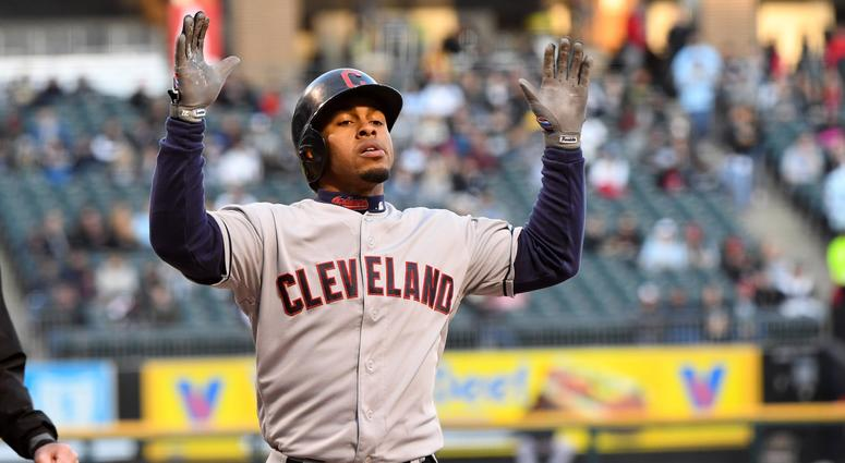 May 13, 2019; Chicago, IL, USA; Cleveland Indians shortstop Francisco Lindor (12) reacts after hitting a home run against the Chicago White Sox during the first inning at Guaranteed Rate Field. Mandatory Credit: Mike DiNovo-USA TODAY Sports