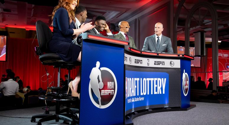 May 14, 2019; Chicago, IL, USA; NBA top prospect Zion Williamson (third from left) is seen during the 2019 NBA Draft Lottery at the Hilton Chicago. Mandatory Credit: Patrick Gorski-USA TODAY Sports