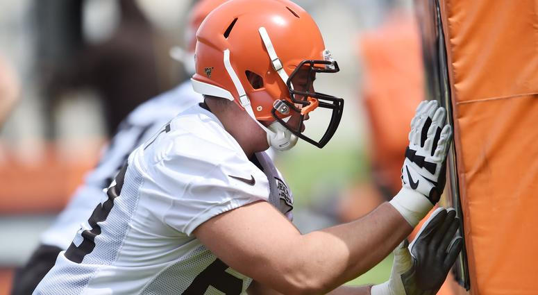 Cleveland Browns guard Austin Corbett (63) runs a drill during organized team activities at the Cleveland Browns training facility.