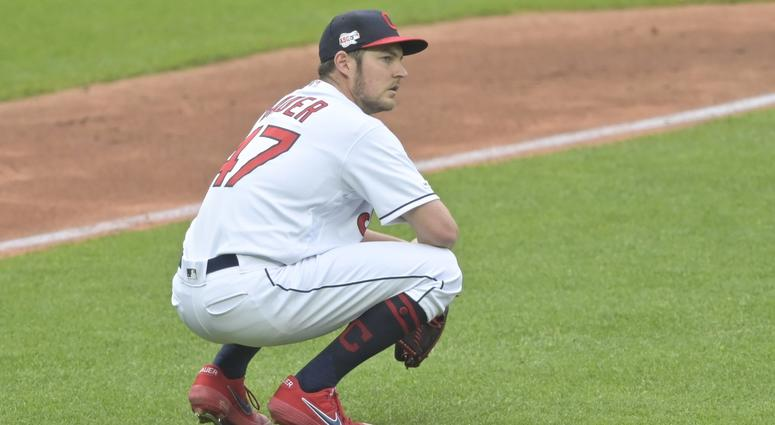 May 16, 2019; Cleveland, OH, USA; Cleveland Indians starting pitcher Trevor Bauer (47) reacts after giving up a three-run home run in the third inning against the Baltimore Orioles at Progressive Field. Mandatory Credit: David Richard-USA TODAY Sports