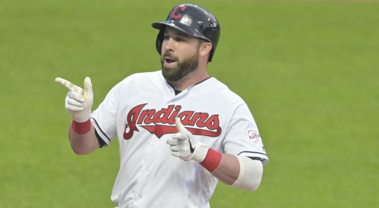 May 16, 2019; Cleveland, OH, USA; Cleveland Indians second baseman Jason Kipnis (22) celebrates his three-run home run in the fourth inning against the Baltimore Orioles at Progressive Field. Mandatory Credit: David Richard-USA TODAY Sports