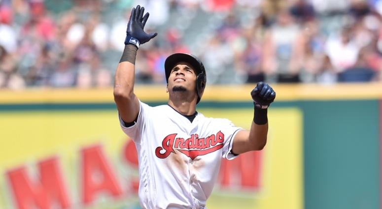 Cleveland Indians right fielder Oscar Mercado (35) celebrates after hitting an RBI double during the sixth inning against the Baltimore Orioles at Progressive Field.
