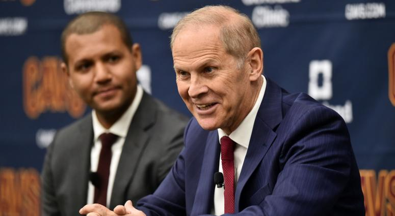 May 21, 2019; Cleveland, OH, USA; Cleveland Cavaliers head coach John Beilein speaks to the media during a press conference at Cleveland Clinic Courts. At left is general manager Koby Altman. Mandatory Credit: Ken Blaze-USA TODAY Sports