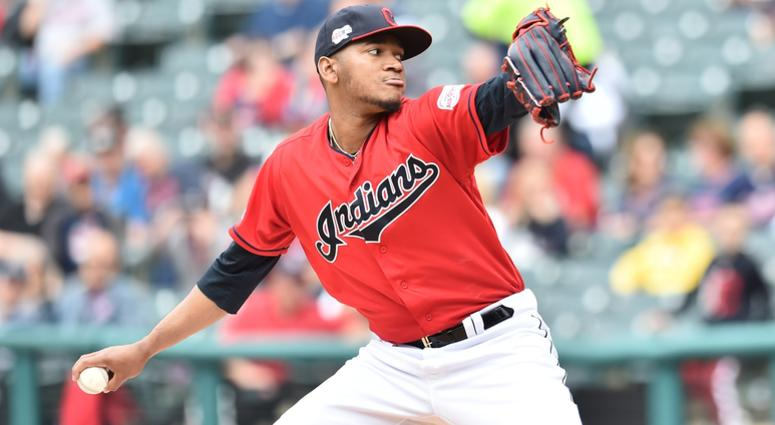 May 22, 2019; Cleveland, OH, USA; Cleveland Indians starting pitcher Jefry Rodriguez (68) throws a pitch during the first inning against the Oakland Athletics at Progressive Field. Mandatory Credit: Ken Blaze-USA TODAY Sports