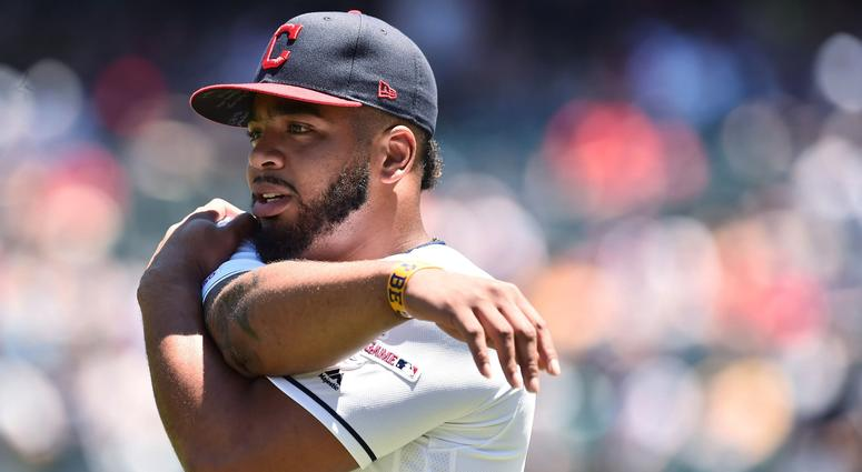 Jun 23, 2019; Cleveland, OH, USA; Cleveland Indians first baseman Bobby Bradley (40) warms up before the game between the Cleveland Indians and the Detroit Tigers at Progressive Field. This will be Bradley's major league debut. Mandatory Credit: Ken Blaze
