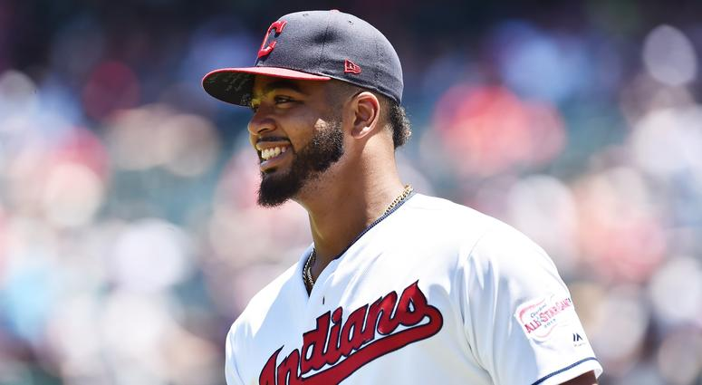 Jun 23, 2019; Cleveland, OH, USA; Cleveland Indians first baseman Bobby Bradley (40) warms up before the game between the Cleveland Indians and the Detroit Tigers at Progressive Field. This will be Bradley's major league debut. Mandatory Credit: Ken Blaz
