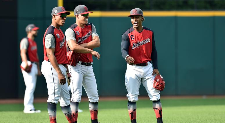 American League infielder Jorge Polanco of the Minnesota Twins (left), pitcher Jose Berrios of the Minnesota Twins (center) and infielder Francisco Lindor of the Cleveland Indians during workouts before the 2019 MLB All Star Game at Progressive Field.