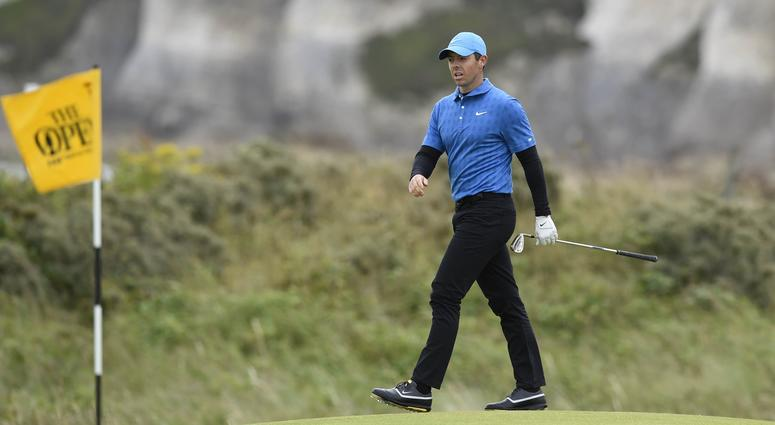 Jul 18, 2019; Portrush, IRL; Rory McIlroy on the 5th green during the first round of The Open Championship golf tournament at Royal Portrush Golf Club - Dunluce Course. Mandatory Credit: Ian Rutherford-USA TODAY Sports