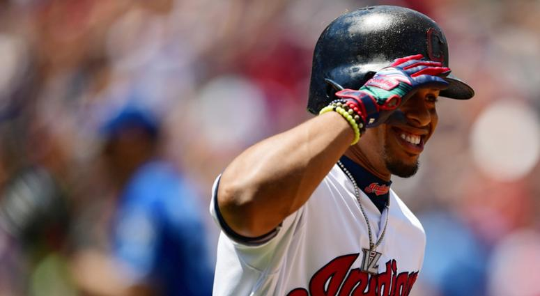 Jul 21, 2019; Cleveland, OH, USA; Cleveland Indians designated hitter Francisco Lindor (12) celebrates after hitting a home run during the third inning against the Kansas City Royals at Progressive Field. Mandatory Credit: David Dermer-USA TODAY Sports