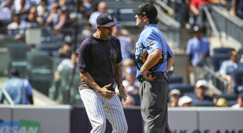 Aug 17, 2019; Bronx, NY, USA; New York Yankees manager Aaron Boone (17) argues with home plate umpire Ben May (97) in the sixth inning against the Cleveland Indians at Yankee Stadium. Mandatory Credit: Wendell Cruz-USA TODAY Sports