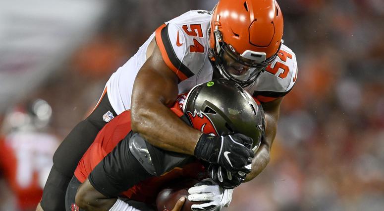 Cleveland Browns defensive end Olivier Vernon (54) sacks Tampa Bay Buccaneers quarterback Jameis Winston (3) during the second quarter at Raymond James Stadium