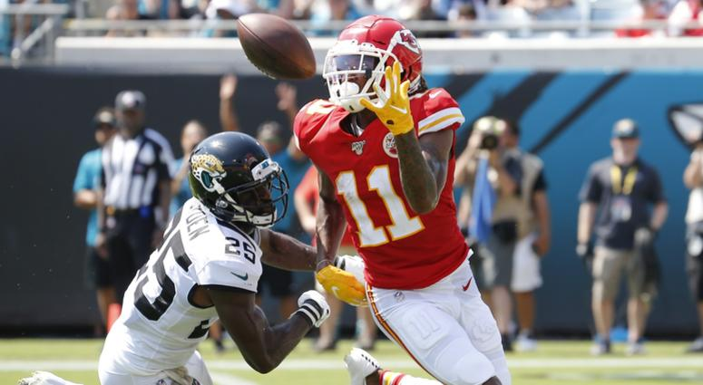 Sep 8, 2019; Jacksonville, FL, USA; Jacksonville Jaguars defensive back D.J. Hayden (25) breaks up a pass to Kansas City Chiefs wide receiver Demarcus Robinson (11) during the second half at TIAA Bank Field. Mandatory Credit: Reinhold Matay-USA TODAY Spor