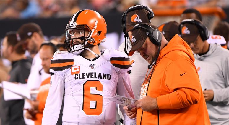 Sep 16, 2019; East Rutherford, NJ, USA; Cleveland Browns quarterback Baker Mayfield (6) talks with Cleveland Browns head coach Freddie Kitchens during the first half against the New York Jets at MetLife Stadium. Mandatory Credit: Robert Deutsch-USA TODAY