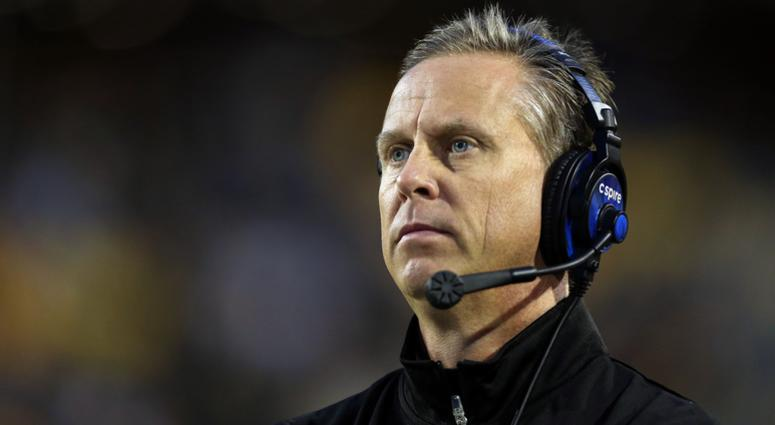 Southern Miss Golden Eagles head coach Todd Monken looks on from the sidelines in the second half against the Old Dominion Monarchs at M.M. Roberts Stadium. Southern Miss won, 56-31.