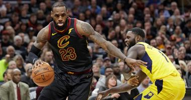 Cavaliers' LeBron James, left, drives past Indiana Pacers' Lance Stephenson in the first half of Game 7 of an NBA basketball first-round playoff series, Sunday, April 29, 2018, in Cleveland