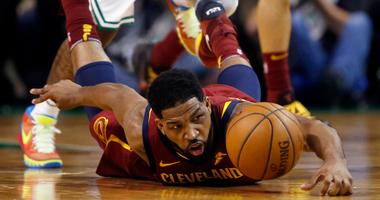 Cleveland Cavaliers center Tristan Thompson dives for the ball during the first half of Game 1 of the NBA basketball Eastern Conference Finals against the Boston Celtics, Sunday, May 13, 2018, in Boston.