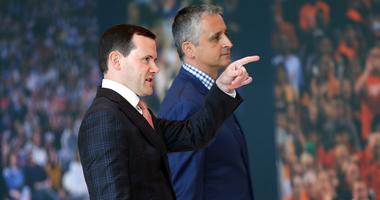 Phoenix Suns new head coach Igor Kokoskov, right, arrives with general manager Ryan McDonough to speak to the media Monday, May 14, 2018, in Phoenix. Kokoskov will oversee a vastly improved team after they compiled the worst record in the NBA last season.