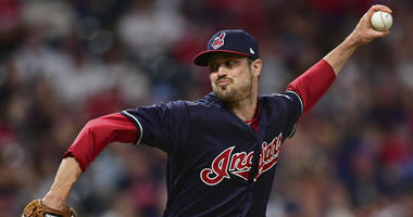 Cleveland Indians relief pitcher Andrew Miller delivers during the seventh inning of the team's baseball game against the Houston Astros, Friday, May 25, 2018, in Cleveland.