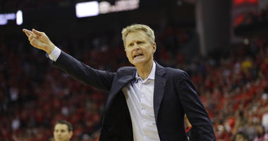 Golden State Warriors head coach Steve Kerr argues a call during the second half in Game 7 of the NBA basketball Western Conference finals against the Houston Rockets, Monday, May 28, 2018, in Houston