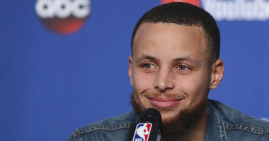 Golden State Warriors guard Stephen Curry (30) speaks during a press conference following Game 3 of basketball's NBA Finals, early Wednesday June 7, 2018, in Cleveland. The Warriors defeated the Cleveland Cavaliers 110-102 to take a 3-0 lead in the series