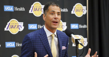Los Angeles Lakers general manager Rob Pelinka talks about the acquisition of LeBron James and other free agents at a news conference at the NBA basketball team's headquarters in El Segundo, Calif., Wednesday, July 11, 2018.