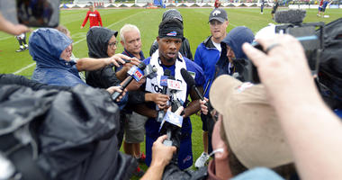 Buffalo Bills wide receiver Corey Coleman talks to the media after his first practice at the NFL football team's training camp in Pittsford, N.Y. Bills newly acquired receiver Corey Coleman can't escape the reminders of Cleveland no matter how hard he's