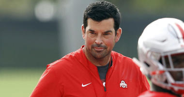 Acting Ohio State University football coach Ryan Day is seen during NCAA college football practice in Columbus, Ohio. Ohio State did its best to turn the conversation back to football on Monday, Aug. 27, 2018, in preparation for its first home opener in s