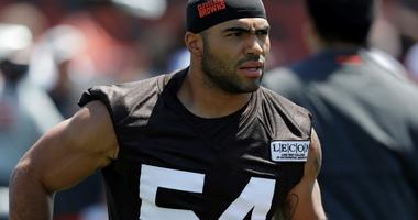 In this July 26, 2018, file photo, Cleveland Browns' Mychal Kendricks is shown during an NFL football training camp in Berea, Ohio.