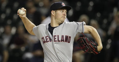 Cleveland Indians starting pitcher Trevor Bauer throws against the Chicago White Sox during the first inning of a baseball game Tuesday, Sept. 25, 2018, in Chicago.
