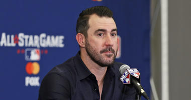 Houston Astros' Justin Verlander speaks during a news-conference, Monday, July 8, 2019, in Cleveland. Verlander will be the American League starting pitcher for the 90th All-Star Game played on Tuesday in Cleveland. (AP Photo/Tony Dejak)