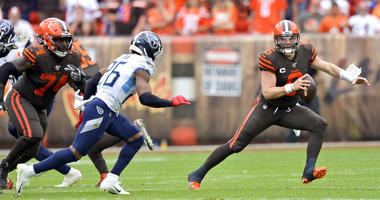 Cleveland Browns quarterback Baker Mayfield (6) scrambles during the first half in an NFL football game against the Tennessee Titans, Sunday, Sept. 8, 2019, in Cleveland. (AP Photo/David Richard)