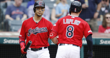 CLEVELAND, OH - MAY 09: Jordan Luplow #8 of the Cleveland Indians is congratulated by Carlos Gonzalez #24 after hitting a solo home run in the second inning against the Chicago White Sox at Progressive Field on May 9, 2019 in Cleveland, Ohio. (Photo by Jo