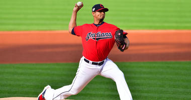 CLEVELAND, OHIO - APRIL 23: Starting pitcher Carlos Carrasco #59 of the Cleveland Indians pitches during the first inning against the Miami Marlins at Progressive Field on April 23, 2019 in Cleveland, Ohio. (Photo by Jason Miller/Getty Images)