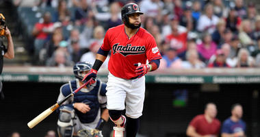 CLEVELAND, OHIO - JUNE 07: Carlos Santana #41 of the Cleveland Indians hits a two run homer during the sixth inning against the New York Yankees at Progressive Field on June 07, 2019 in Cleveland, Ohio. (Photo by Jason Miller/Getty Images)
