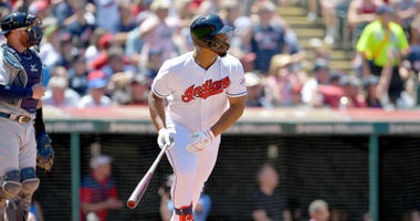 CLEVELAND, OHIO - JUNE 23: Bobby Bradley #40 of the Cleveland Indians hits an RBI double for his Major League debut at bat during the second inning against the Detroit Tigers at Progressive Field on June 23, 2019 in Cleveland, Ohio. (Photo by Jason Miller