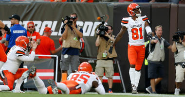 CLEVELAND, OH - AUGUST 8: Rashard Higgins #81 of the Cleveland Browns celebrates after scoring a touchdown during the first quarter of the game against the Washington Redskins at FirstEnergy Stadium on August 8, 2019 in Cleveland, Ohio. (Photo by Kirk Irw