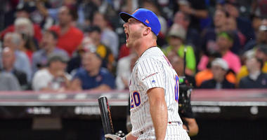 CLEVELAND, OHIO - JULY 08: Pete Alonso of the New York Mets reacts during the T-Mobile Home Run Derby at Progressive Field on July 08, 2019 in Cleveland, Ohio. (Photo by Jason Miller/Getty Images)