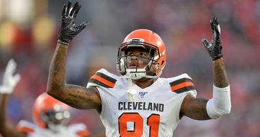 CLEVELAND, OHIO - AUGUST 08: Wide receiver Rashard Higgins #81 of the Cleveland Browns signals touchdown during a review during the first half of a preseason game against the Washington Redskins at FirstEnergy Stadium on August 08, 2019 in Cleveland, Ohio