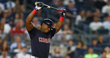 NEW YORK, NEW YORK - AUGUST 16: Yasiel Puig #66 of the Cleveland Indians reacts after fouling out to first base in the fourth inning against the New York Yankees at Yankee Stadium on August 16, 2019 in New York City. (Photo by Mike Stobe/Getty Images)
