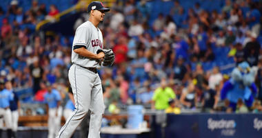 ST PETERSBURG, FLORIDA - SEPTEMBER 01: Carlos Carrasco #59 of the Cleveland Indians takes the mound before the seventh inning against the Tampa Bay Rays at Tropicana Field on September 01, 2019 in St Petersburg, Florida. (Photo by Julio Aguilar/Getty Imag
