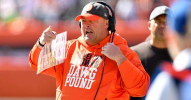 CLEVELAND, OHIO - OCTOBER 13: Head coach Freddie Kitchens of the Cleveland Browns yells to his players during the first quarter against the Seattle Seahawks at FirstEnergy Stadium on October 13, 2019 in Cleveland, Ohio. (Photo by Jason Miller/Getty Images