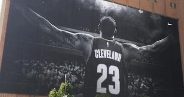 A general view of the massive LeBron James mural located on the side of the Sherwin Williams corporate headquarters in downtown Cleveland, Ohio.