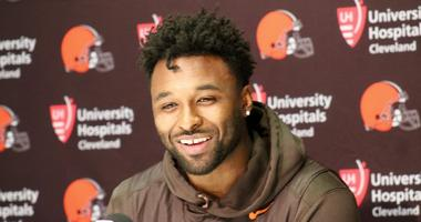 Browns receiver Jarvis Landry talks with reporters on April 17, 2018 after signing a 5-year, $75 million contract extension.