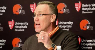 Browns general manager John Dorsey speaks with reporters during the first round of the 2018 NFL Draft