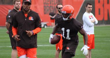 Browns receiver Antonio Callaway catches a pass during rookie minicamp practice on Saturday, May 5, 2018